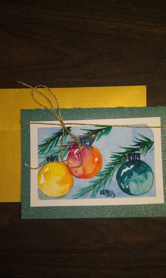 watercolor Christmas Card Ornaments 5x7 by ...